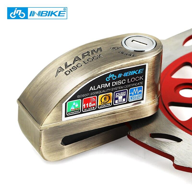 Inbike motocicleta antirrobo rueda disco de freno bloqueo de seguridad Bloqueo de disco Bicicletas candado con 3 Llaves y enviar cerradura cuerda de la alarma