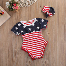 Newborn Baby girls Tassel National Flag Jumpsuit