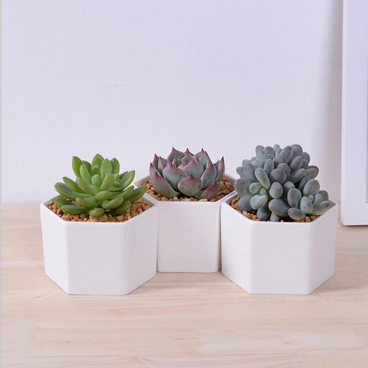 New Small Hexagonal White Ceramic Flower Pot Desktop Decor Potted