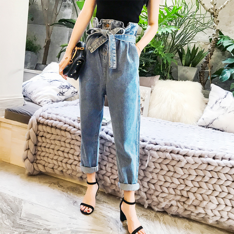 GRUIICEEN Vintage high waist harem pants   Jeans   with Sashes loose ankle-length denim pants 2017 autumn winter trousers