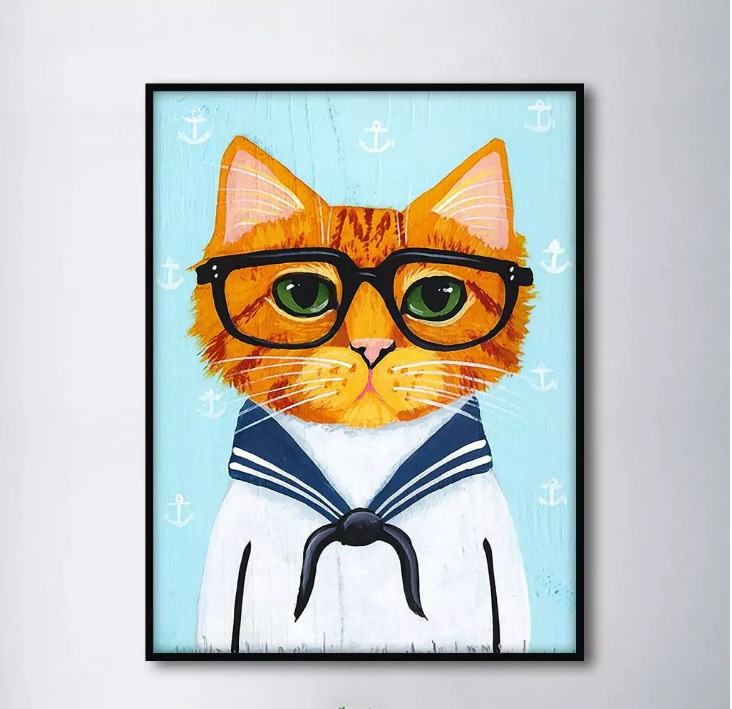 Navy Suit Cute Glasses Cat Decorative Paintings Modular Picture Wall Art Canvas Painting for Living Room No Framed