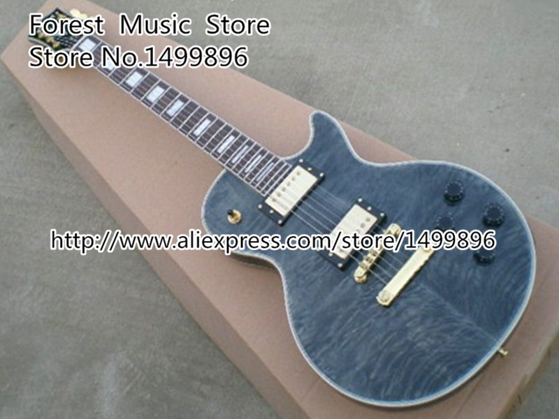Top Selling Grey Quilted Binding Guitar Body LP Custom Electric Guitar China In Stock china s oem firehawk custom shop electric guitar lp color shell inlays color binding double water ripple