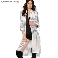 2016 New Spring Women Lapel Long Sleeved Slim Shirt Long Vertical Stripes Black White Chiffon Tunic