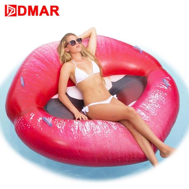 DMAR 160см Cексуальный Надувные Губы Рот Надувной Матрас Для Купания Плавательный Круг Для Плавания Надувные Водные Игрушки Плавающий Плот для Бассейна Пляжа Как Надувной Фламинго Единрог Надувной Пончик