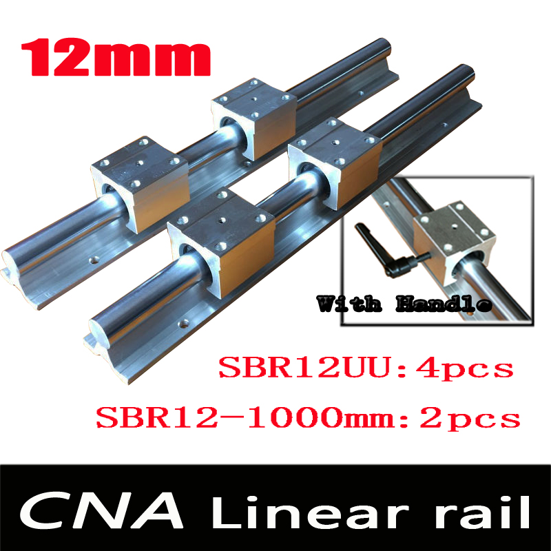 12mm linear rail SBR12 L 1000mm support rails 2 pcs + 4 pcs SBR12UU blocks for CNC for 12mm linear shaft support rails цена