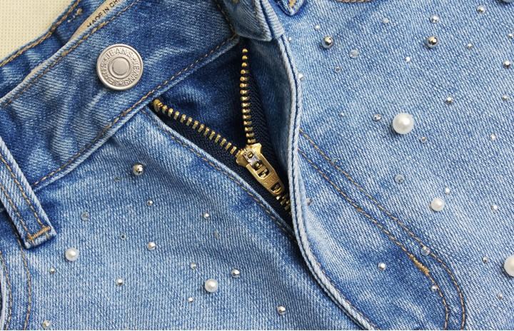 Light De Alta Algodón Mujeres Pantalones Cortos Para 2161 Mujer Rasgados Catonatoz Vaqueros Damas Tachonado Perla Blue Cintura wxfZSqYI