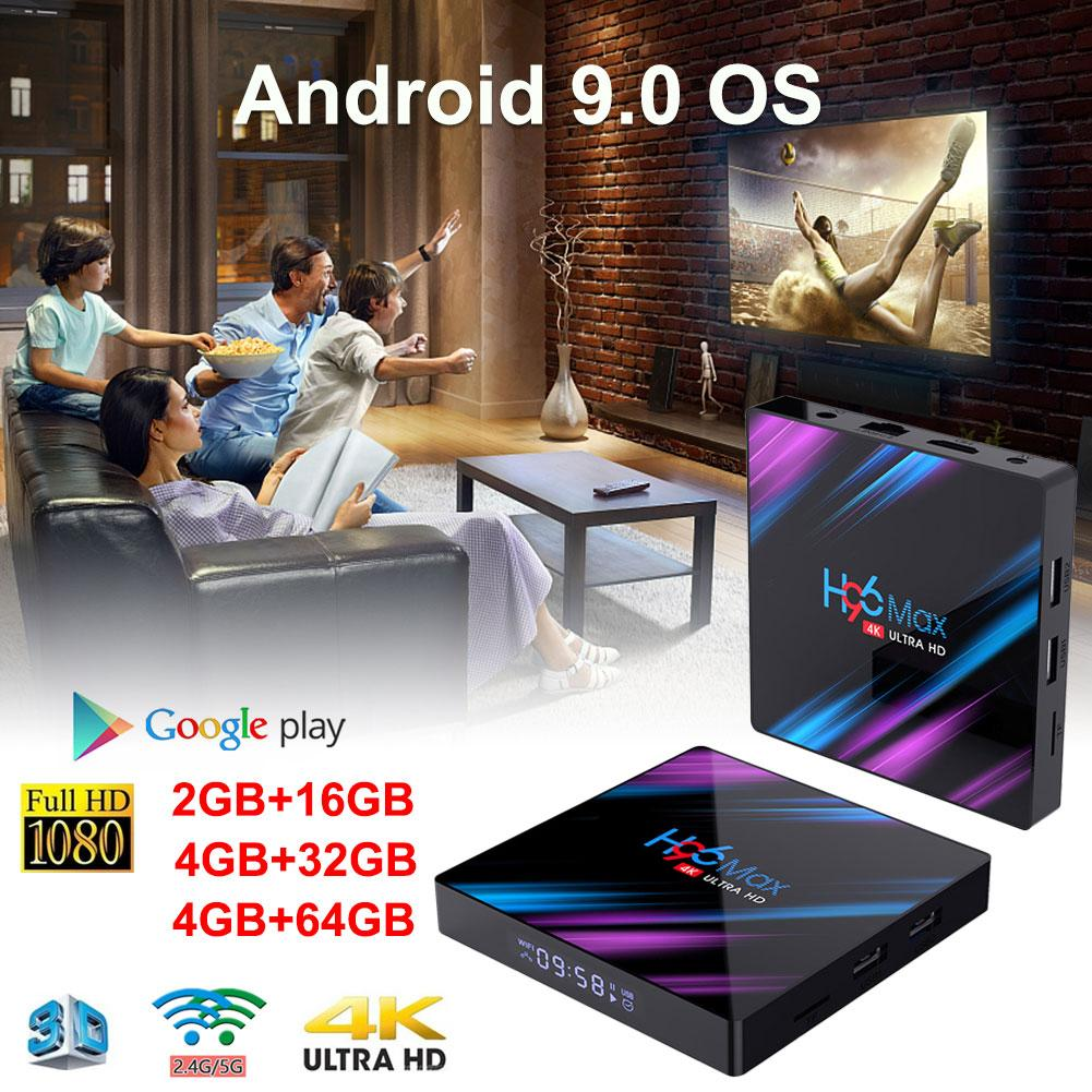Mais novo h96 max plus. Android 9.0 4g 32g 64g conjunto caixa superior 4 k ultra hd h.265 smart tv caixa usb 3.0 duplo wifi 2.4/5.0g media player