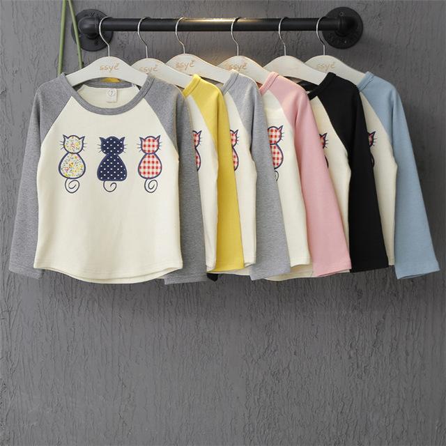 Primavera e no Outono Padrão Gato de Manga comprida T-shirt Das Meninas Bonitos Do Bebê meninos full-luva patchwork dos desenhos animados Camisa Básica T Tops 2-7 T
