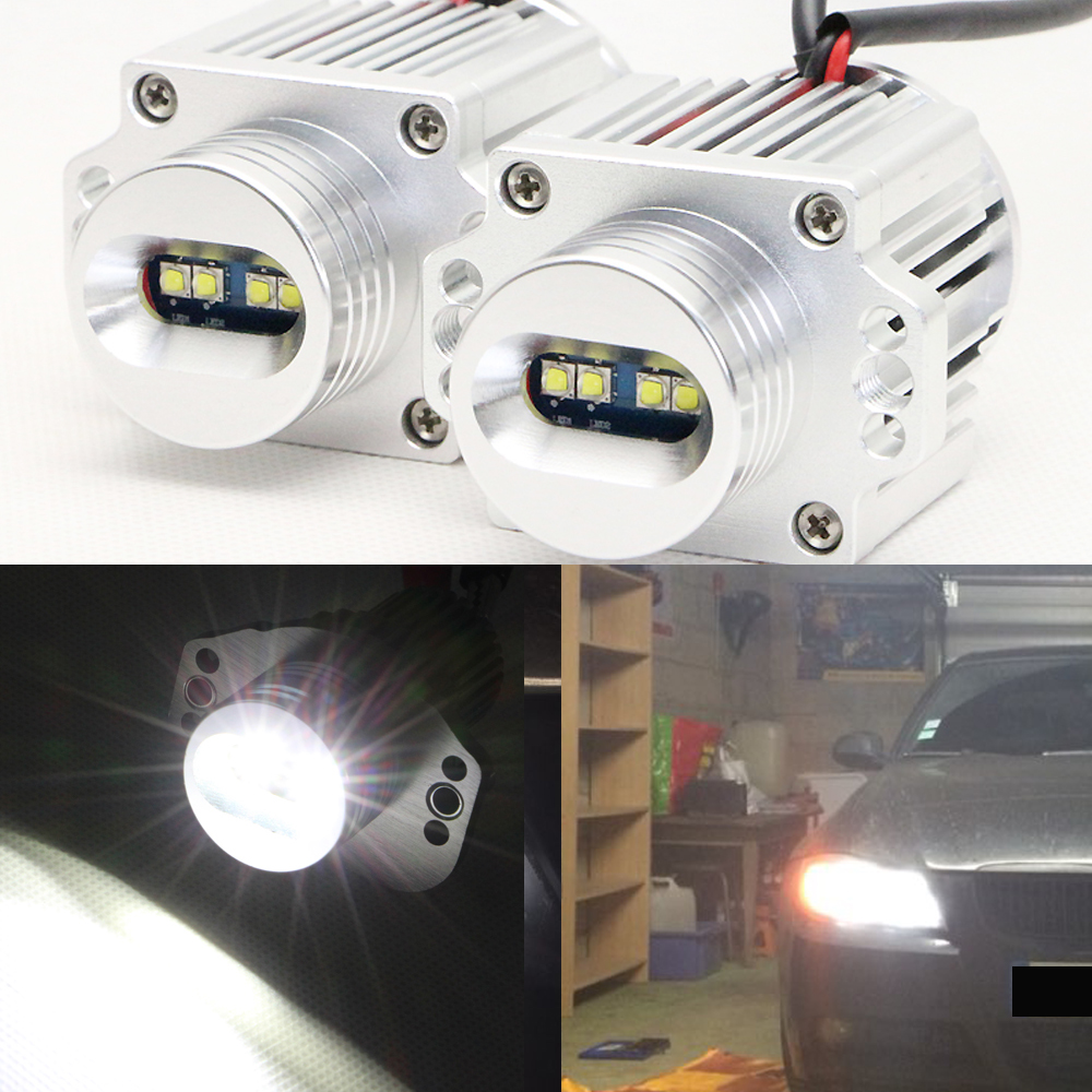 20W White 7000K LED Angel Eyes Halo Ring Marker Headlight Bulbs for BMW E90 E91 3 Series - Replacement Factory Halogen Bulb