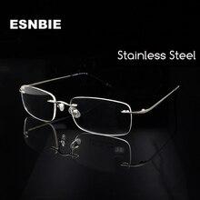 ESNBIE (10pcs/lot) Wholesale Glasses Men Rimless Frames Rectangle Silver Women Eyeglass Frame Rx-able Eyewear
