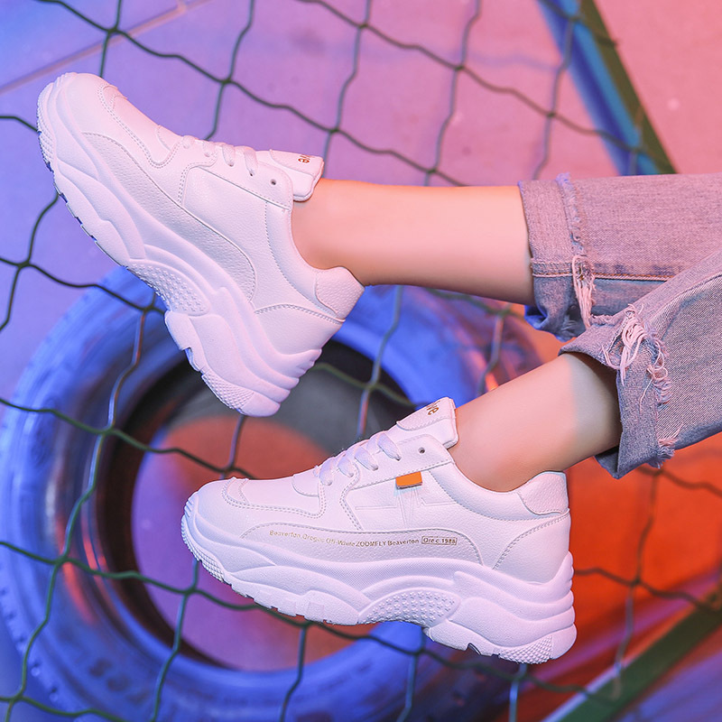 Hot Fashion Platform Sneaker Women Vulcanized Shoes 2019 Casual Chunky Sneakers Lace Up Dad Shoe Platform Women Shoes White