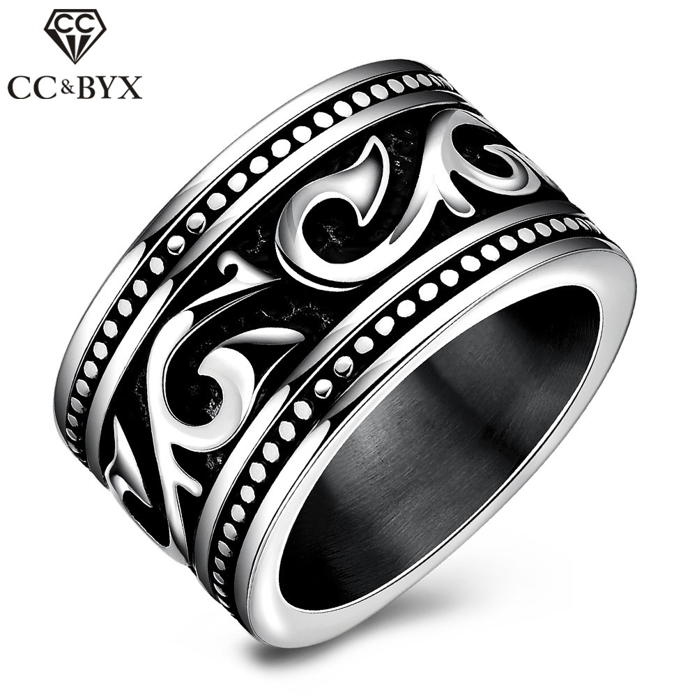 CC Jewelry Fashion Punk Style Classic Vinage Stainless Steel Rings For Men Chic Accessories Wedding Bands Party Gift CC546