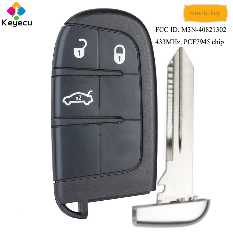 KEYECU OEM Replacement Smart Remote Key With 3 Buttons 433MHz PCF7945 Chip FOB for Fiat 500