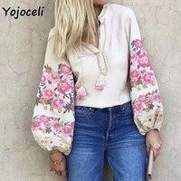Yojocel sexy boho beach embroidery flowear blouses shirt women casual tassels blouses 2018 autumn streetwear tops blusas female
