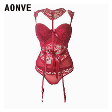 b52eda29260 AONVE Women Steampunk Corset Corselet Lace Mesh Underwear Bow Sexy Lingerie  Tops
