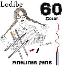 Получить скидку Су Цвет Fineliner Цвет Pen Set, набор из 60 Ассорти Цвета, 0.4 мм Цветной fine Liner эскиз рисунок пером, пористый точка маркер