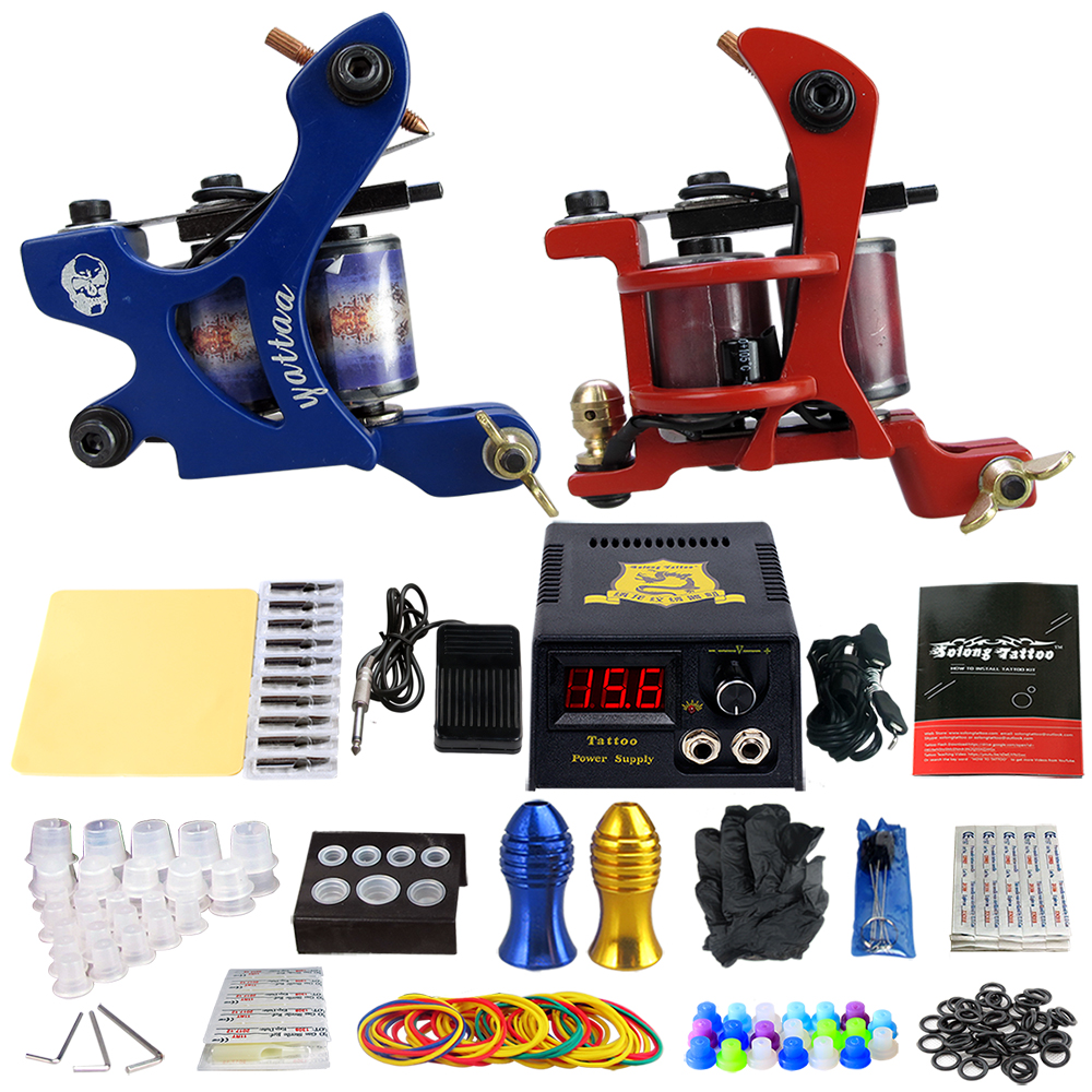 Tattoo Kits 10 Wrap Coils Guns Tattoo Machine Set Power Supply Foot Pedal Needles Grips Body Arts Tattoo Supplies TK202-33