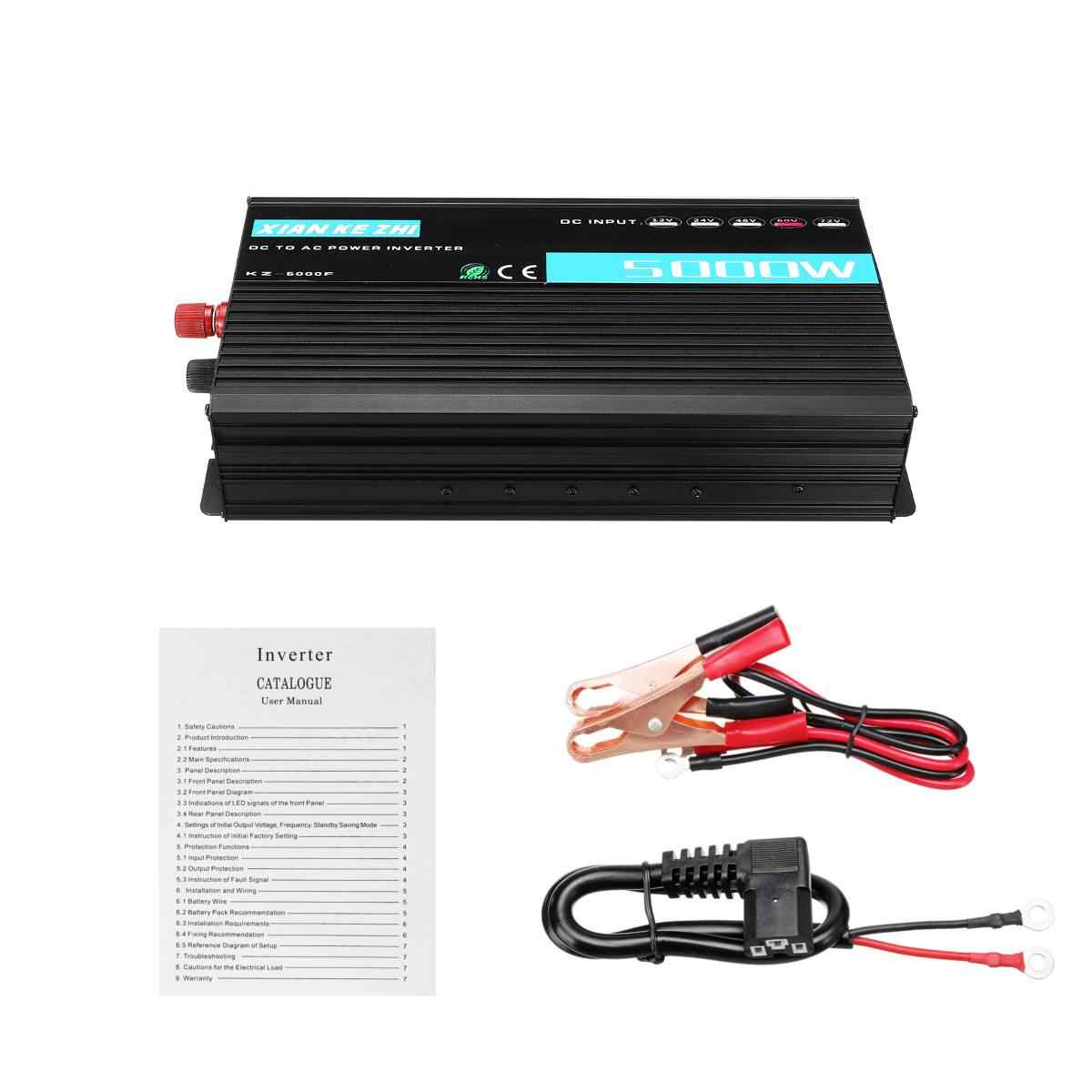 Multifunción 5000 W inteligente modificado inversor de energía 12/24/48/60/72 V a 220 V doble pantalla LED Digital