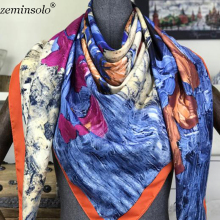 New Women Square Silk Scarf Luxury Designer Brand Ladies Scarves For Female Bandana High Quality Shawls Stoles Girl Gifts
