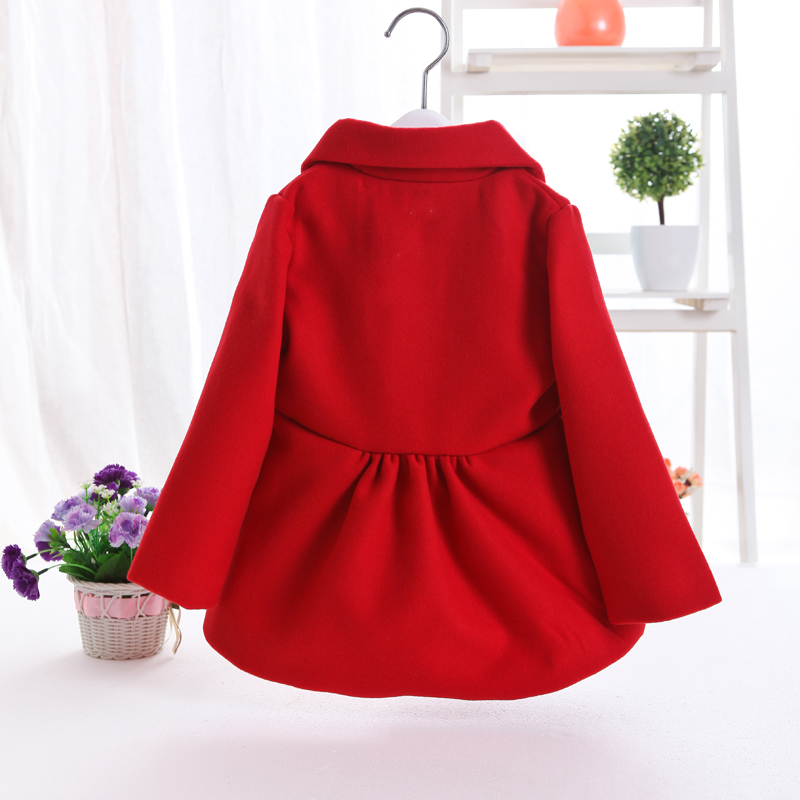 2019 Spring Fall New Little Girls Red Woolen Coat Female Baby Kids Casual Lapel Wool Jacket Children Clothes Long Outerwear X64 in Jackets Coats from Mother Kids