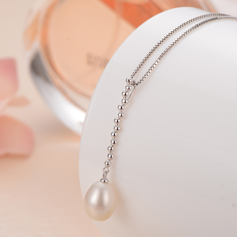 gNpearl Natural Waterdrop White Freshwater Pearl Necklace 925 Silver Trendy  Elegance Pendant Necklaces Gift for womengNpearl Natural Waterdrop White Freshwater Pearl Necklace 925 Silver Trendy  Elegance Pendant Necklaces Gift for women