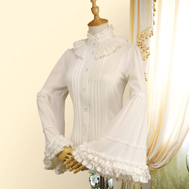 Cute Female Blouse Vintage Lolita Chiffon Women's Shirt Black/White Sweet Lace Tops Flare Sleeve Shirts