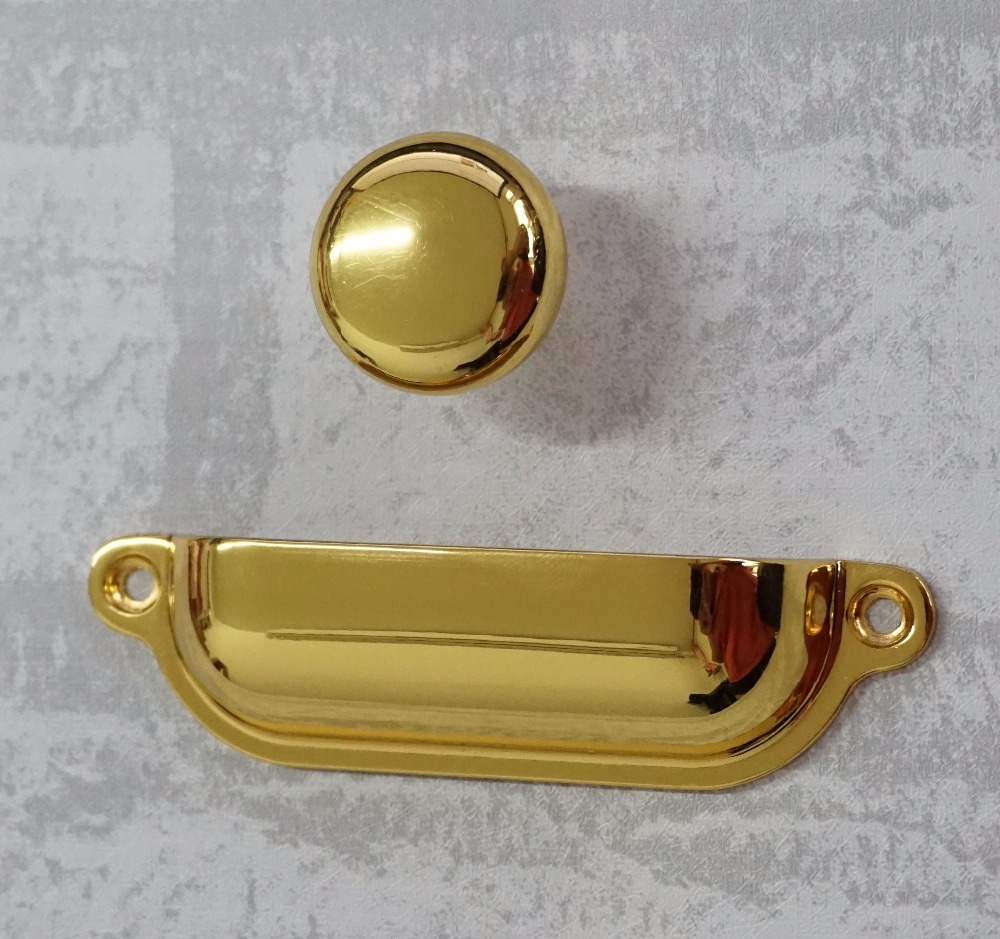 Shiny Bin Drawer Pull Dresser Knobs Handles Shell Cup Gold