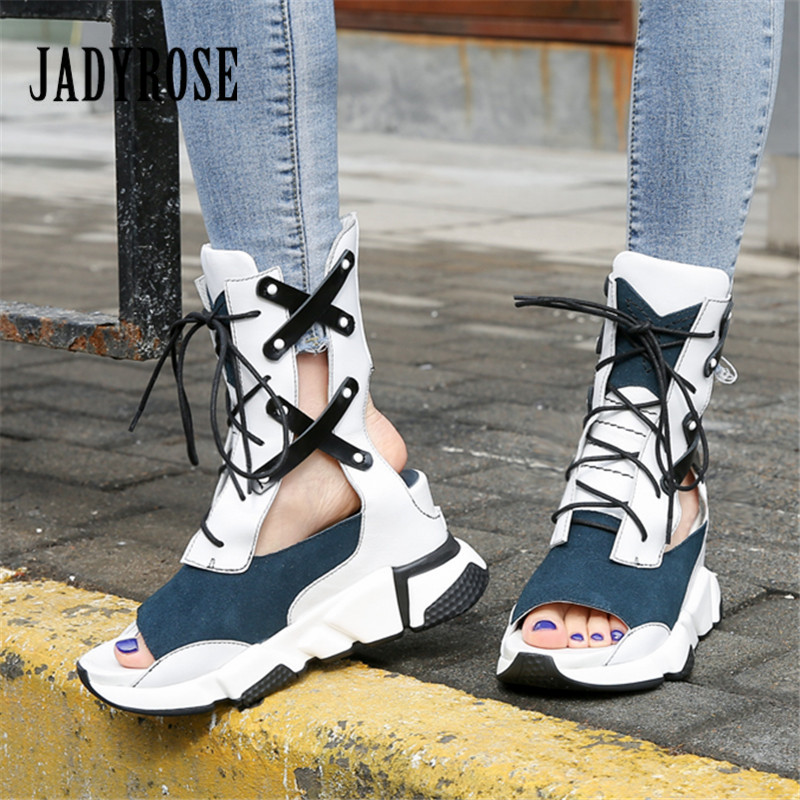 Jady Rose Height Increasing Women Sandals Platform Creepers Wedge Shoes Woman Gladiator Sandal Lace Up Summer Boots Wedges