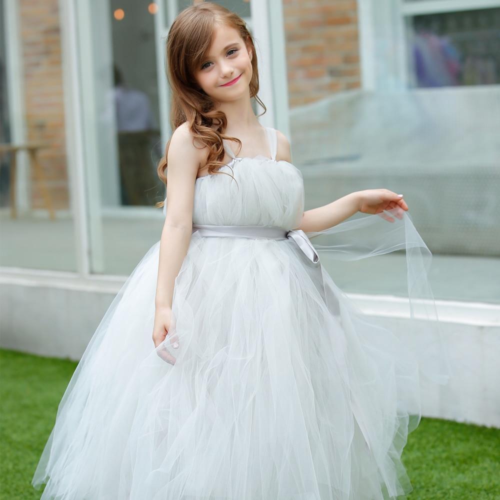 New Charm light Sliver Grey Flower Girl Dress with Satin Ribbon Girl ...