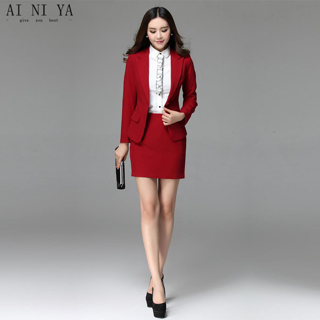 1e1244830 Women Skirt Suits Red Elegant Autumn Formal Wear To Work Office Business  Slim OL Jacket blazer & Skirts Suit 2 Piece Sets Custom