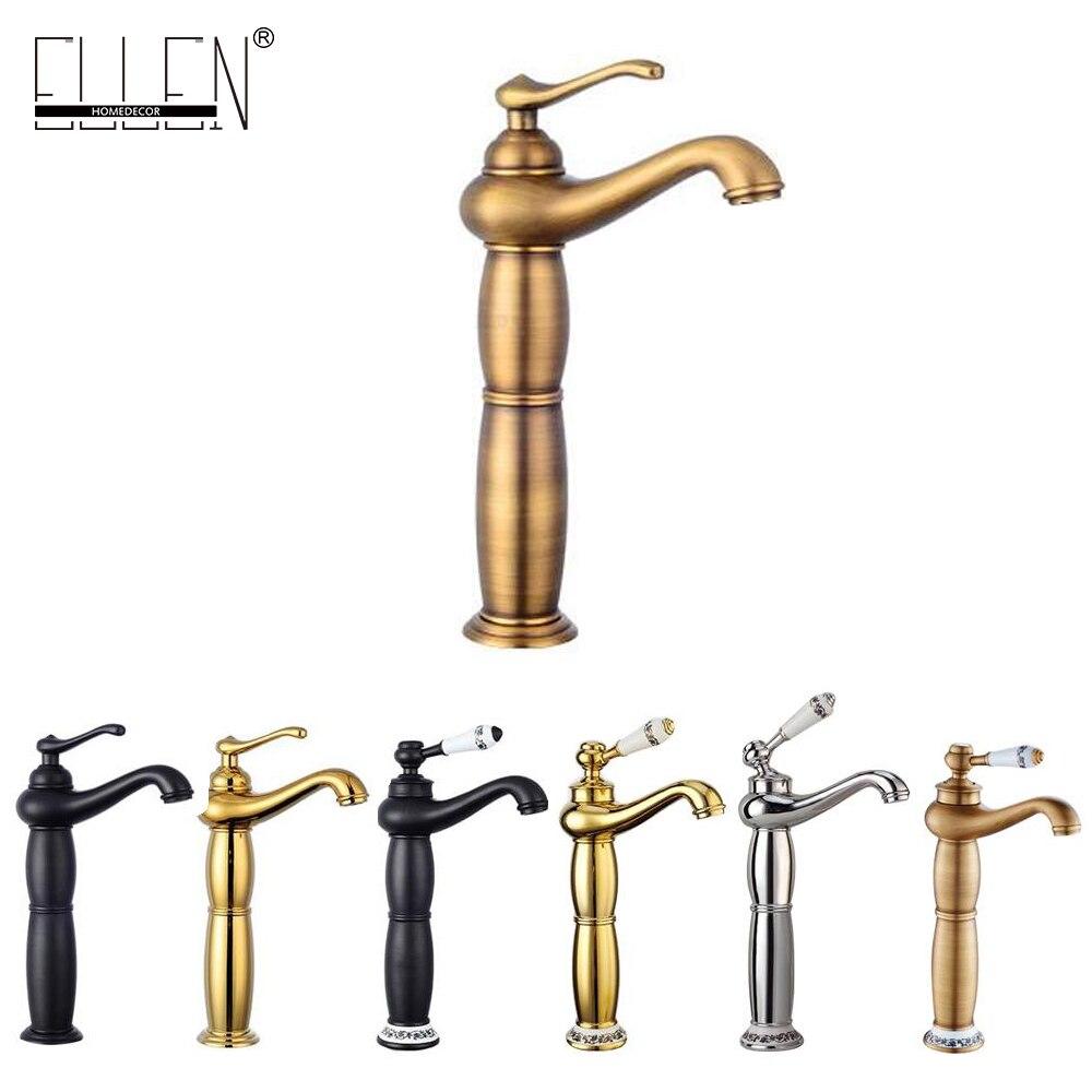 Quente e Fria Torneira de Altura Torneira do Banho de Bronze Antigo de Ouro Bacia Banheiro Sink Mixer Água Preto Guindaste Torneira Elf001h