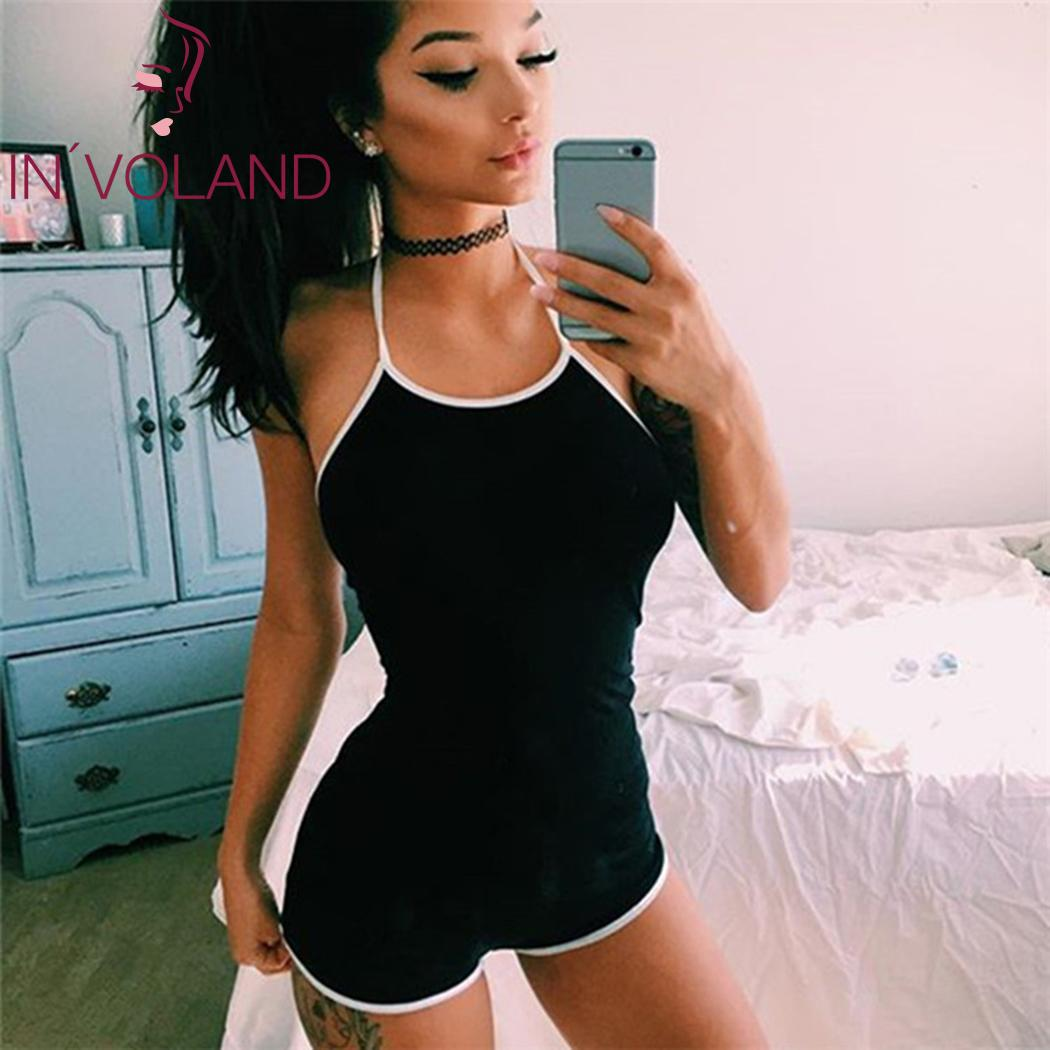Fit Casual Lace Up Halter Bodycon Slim Women Sexy Backless Bodysuit