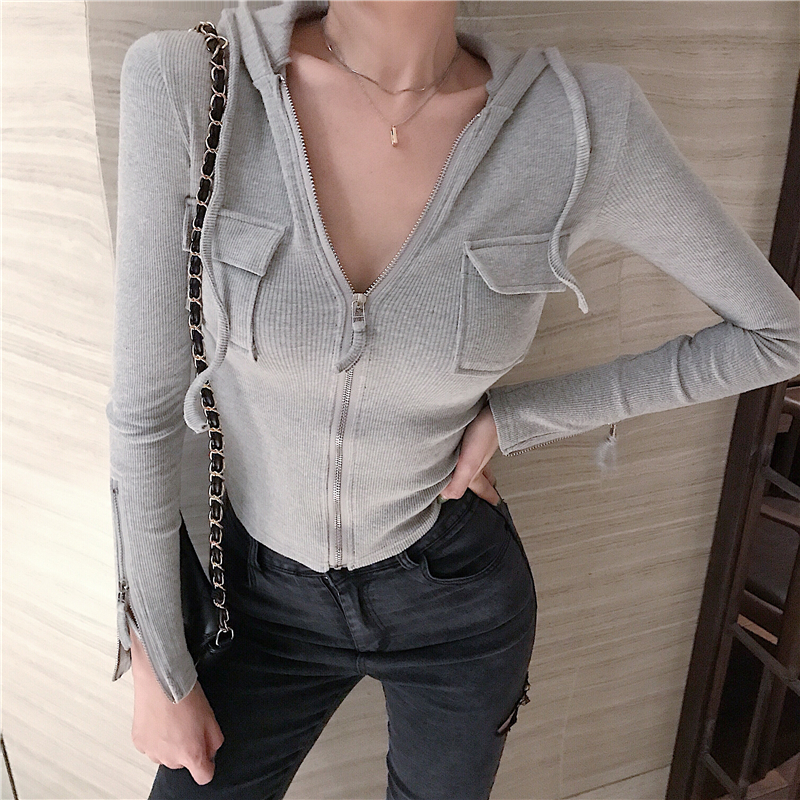 2019 Autumn And Winter Women's Sexy Cardigans Elastic Hooded Full-sleeve Blouse Waist Hollow Out Knitted Crop Blouse