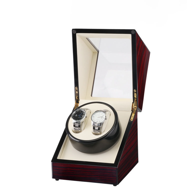 Clock Watch Winder Box,Global Use Plug/Battery 2 Slots Lacquer Wood Rotate Watches Box Slient Motor Display Clock Winder Case