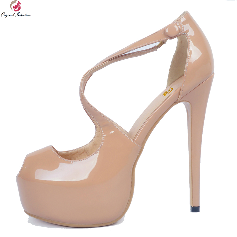 Original Intention Stylish Women Sandals Fashion Open Toe Thin High Heels Sandals Elegant Nude Shoes Woman Plus US Size 4-20 original intention new sexy women sandals stylish cut outs open toe thin heels sandals nice black shoes woman plus us size 4 20