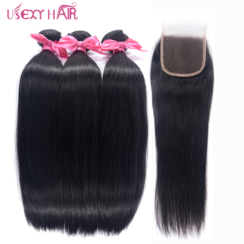 USEXY HAIR Straight Hair Bundles With Lace Closure Peruvian Hair Bundles With Closure Remy Human Hair 3 Bundles With Closure
