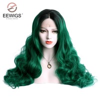 Lace Front Wig Long Natural Wave Black to Green Wig Tones Ombre Glueless Hair Synthetic Wigs Middle Parting For Drag Queen