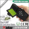 WINMAX Profissional Handheld Digital 500X USB Microscópio 5.0MP Real 3.5 ''Tela LCD 8 LED USB SD Cartão de Bateria De Lítio UM039