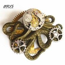 steampunk gothic rock octopus watch parts gears pendant brooch pins badge men women girls vintage jewelry