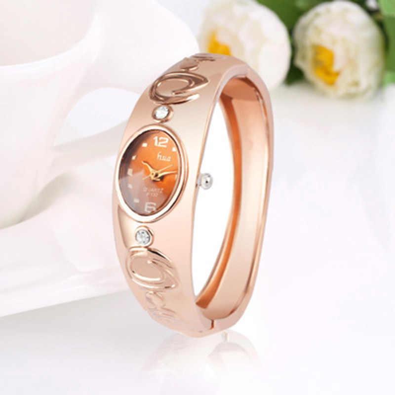 Qualité supérieure femmes filles Quartz Montres Boucle Ronde En Acier Inoxydable cadeau de luxe robe décontracté bracelet montres