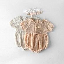 Новинка года; Летний комбинезон для новорожденных девочек; хлопковый комбинезон с короткими рукавами и кружевными цветами; одежда принцессы для малышей