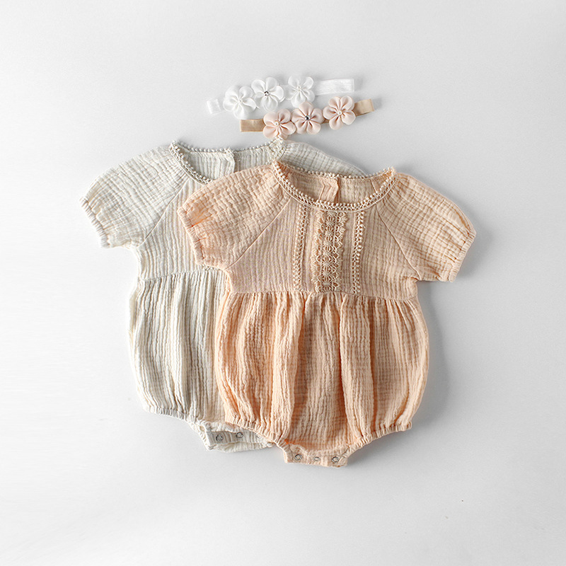 2019 New Summer Newborn Girls   Romper   Lace Flowers Cotton Shortsleeve Jumpsuit Baby Toddler Princess Outfits