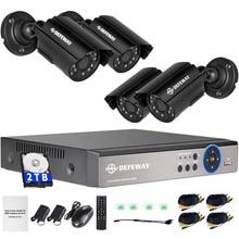 DEFEWAY 1200TVL 720 P HD Extérieure CCTV Caméra de Sécurité Système 1080N Maison vidéo Surveillance DVR Kit 2 TB HDD 8 CH 1080 P HDMI Sortie