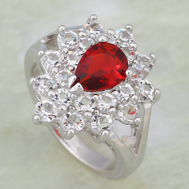 Engagement ring Red crystal Fashion jewelry White Gold Rings for ...