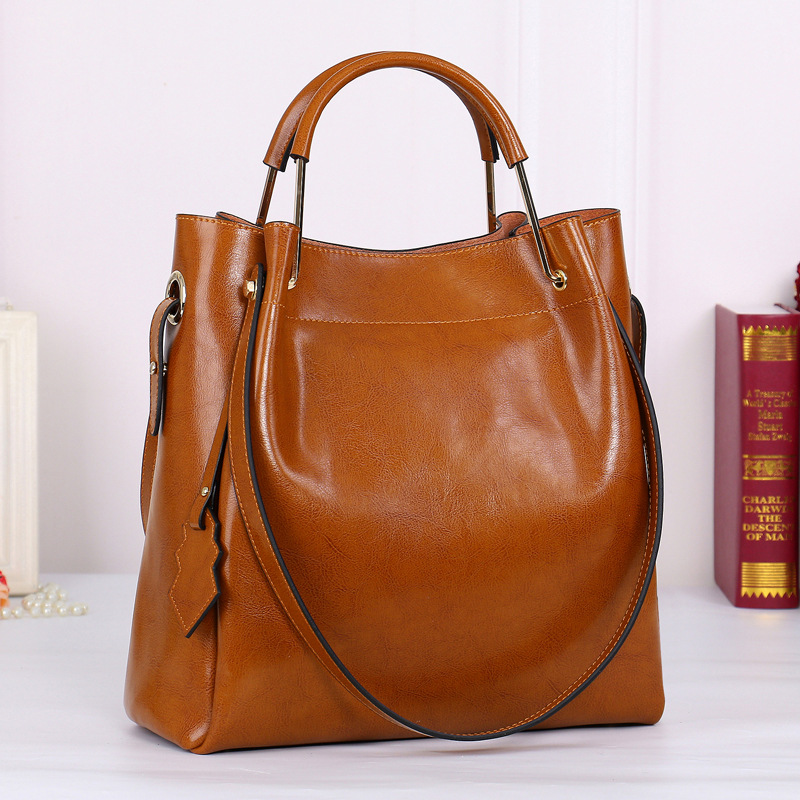Brown Genuine Leather Women Handbag Simple Travel Tote Bag Large Capacity Lady Shoulder Bags Crossbody Purse