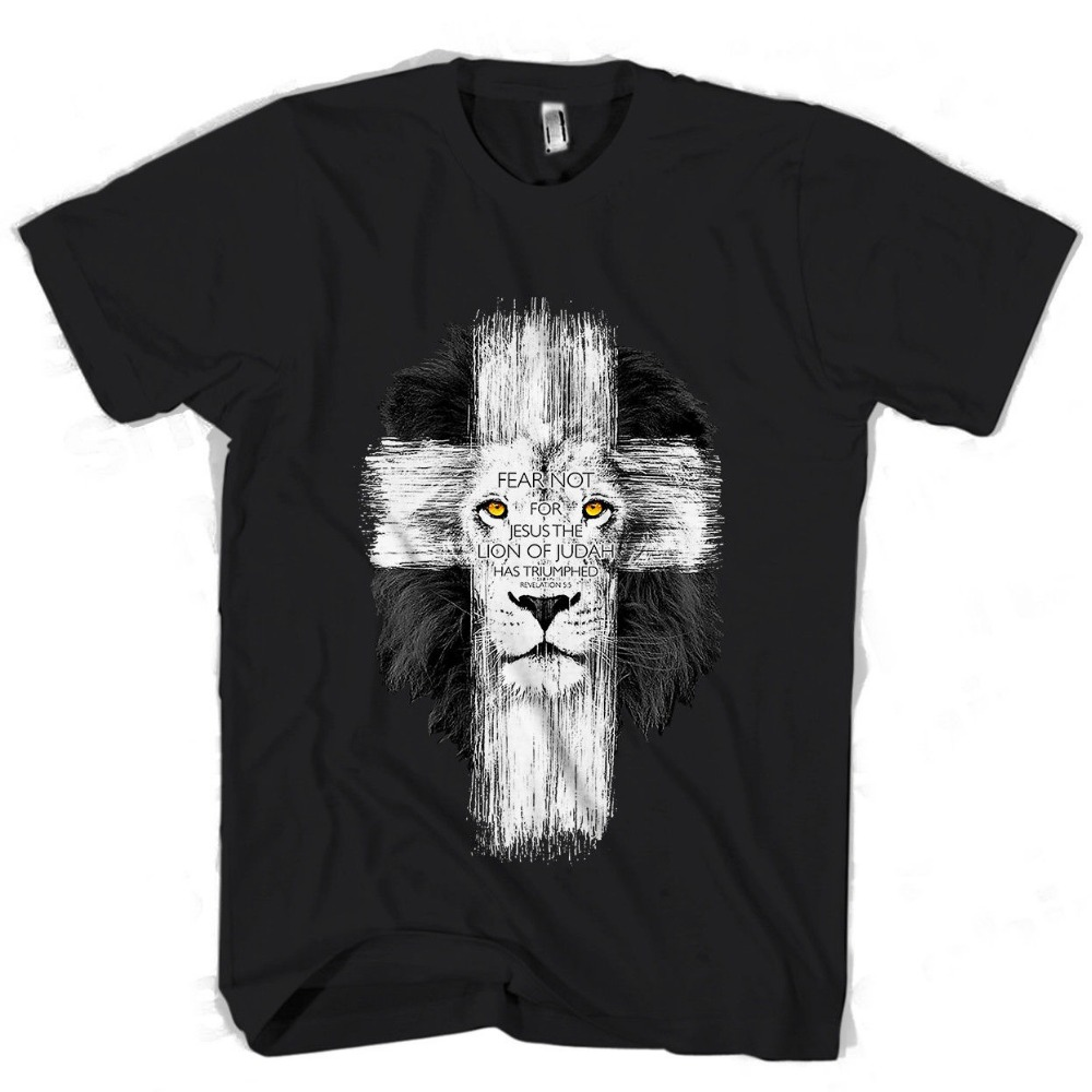 Jesus Kerusso Brand Christian Black White Lion Cross Fea Men's  Women's T Shirt