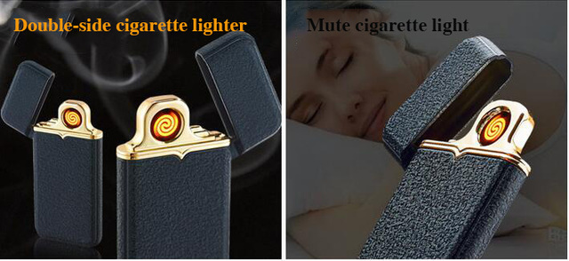 2017 New Arrival Cigarette Lighter USB Rechargeable Flameless Electric Double Arc Windproof Cigar Lighter With USB Charging Port