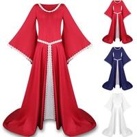 Vintage European Medieval Costumes Aristocrat Dress Long Sleeve Round Neck Ball Gowns Gothic Elegant Retro Renaissance Dress