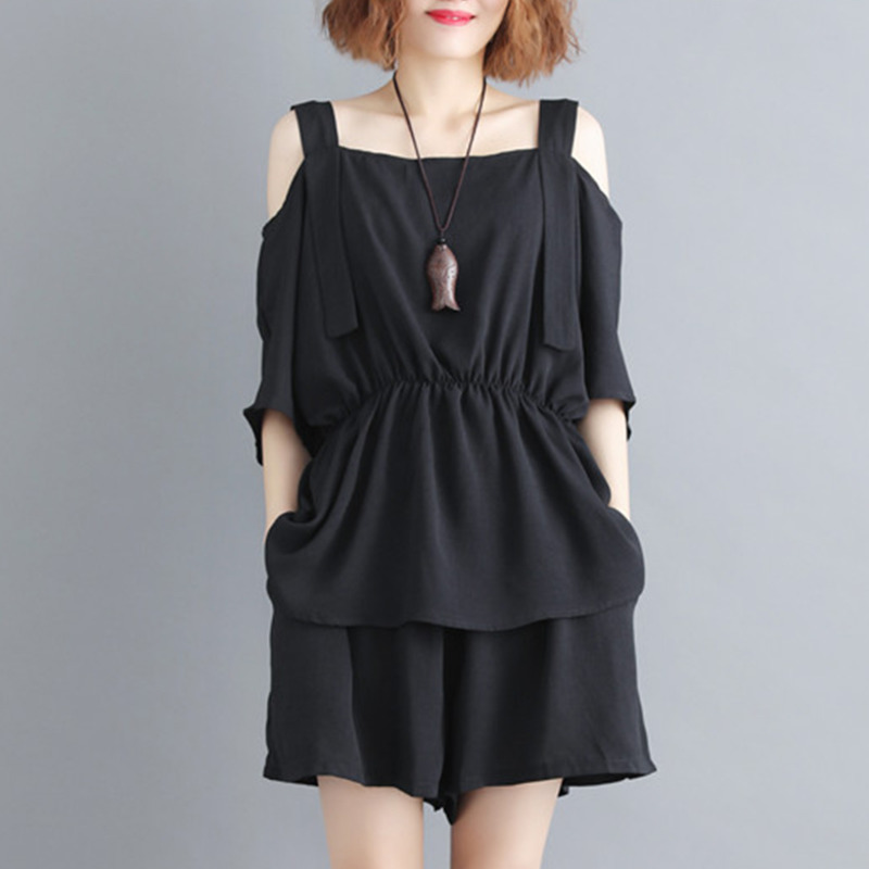 0805Off Shoulder Suspender T Shirt Short Sleeve Summer Sexy 2 Piece Shorts Set Women Black Loose Casual Crop Top Two Piece Sets in Women 39 s Sets from Women 39 s Clothing