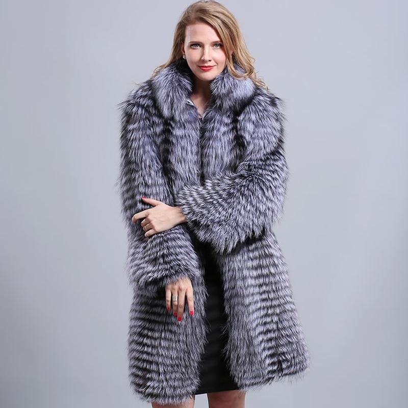 100% Real Fox Fur Coat Full Sleeve Trendy Style Solid Natural Silver Fox Fur Jacket Women Fashion Colorful Natural Fox Fur Coat